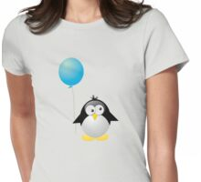 Penguin with Blue Balloon Womens Fitted T-Shirt
