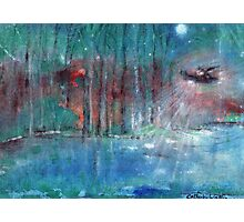 Black hawk helicopter chasing  a UFO   Photographic Print