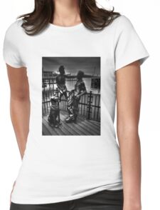 Sculptures At Mermaid Quay Cardiff Wales Womens Fitted T-Shirt