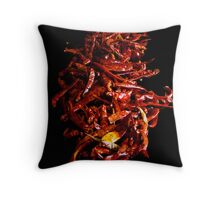 Dried Chili On Black Throw Pillow