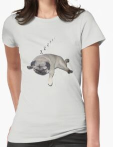 Sleeping Pug Womens Fitted T-Shirt