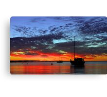 Boats At Dusk  Canvas Print