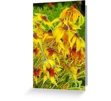 Flower Field - Fractalius Style Greeting Card