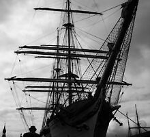 Rigged Ship Black & White Photography by MyrianeArt