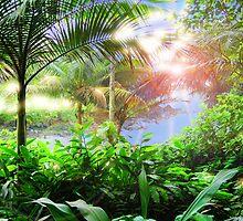 Streaming Hawaiian Sunlight Landscape by bloomingvine