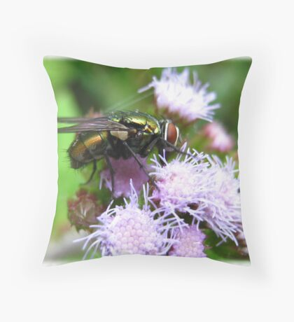 Fly On Flower Throw Pillow