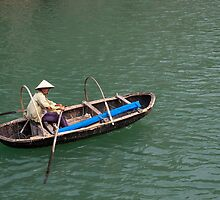 Bamboo Basket boat, Halong Bay by Glen O'Malley