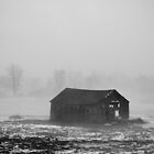 Abandoned barn wrapped in fog by Mike  Wood