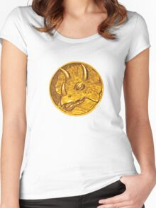 Mighty Morphin Power Rangers Blue Ranger Triceratops Coin Women's Fitted Scoop T-Shirt