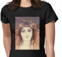 MYSTIC EYES - BEAUTIFUL ART NOUVEAU WOMAN with Flowers in the Hair Womens Fitted T-Shirt