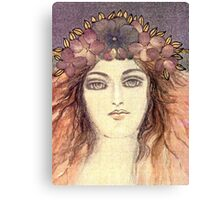 MYSTIC EYES - BEAUTIFUL ART NOUVEAU WOMAN with Flowers in the Hair Canvas Print