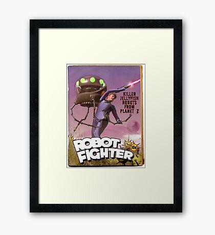 Robot Fighter Fake Pulp Cover Framed Print