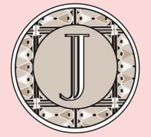 1920s Pink Champagne Gatsby Monogram letter J Kids Clothes