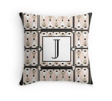 1920s Pink Champagne Gatsby Monogram letter J Throw Pillow