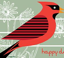 Red Bird Royale Card by Andi Bird