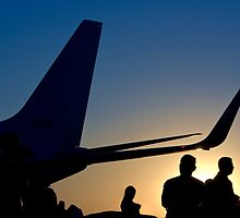 Airline Passengers Disembarking After A Long Flight  by Buckwhite