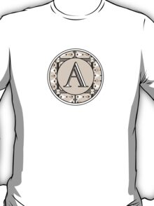 1920s Pink Champagne Gatsby Monogram letter A T-Shirt