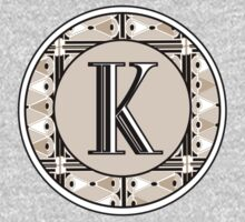 1920s Pink Champagne Gatsby Monogram letter K Kids Clothes