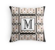 1920s Pink Champagne Gatsby Monogram letter M Throw Pillow