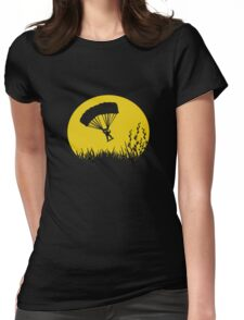 Parachuting down to earth.. Womens Fitted T-Shirt