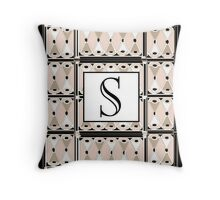 1920s Pink Champagne Gatsby Monogram letter S Throw Pillow