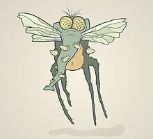 Illustration monster fly with long legs, wings and proboscis by AndrewBzh