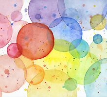 Watercolor Rainbow Circles and Splatters by OlechkaDesign