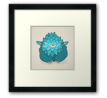 Cartoon blue thick monster with one eye. Hand drawing cyclops Framed Print