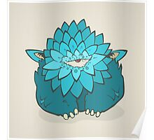 Cartoon blue thick monster with one eye. Hand drawing cyclops Poster