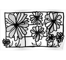 BW Flowers in Glass Poster