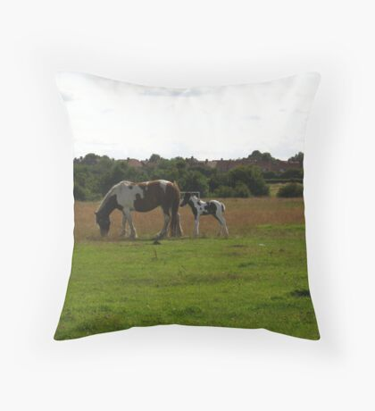 Diana Dors and Foal Too Throw Pillow
