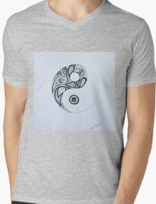 Patterned Yin Yang Mens V-Neck T-Shirt