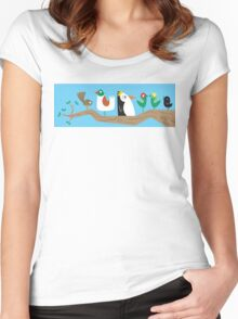 Birds in a Tree Women's Fitted Scoop T-Shirt
