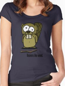Beavers like wood. Women's Fitted Scoop T-Shirt