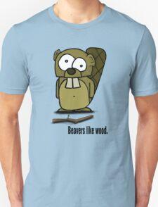 Beavers like wood. Unisex T-Shirt