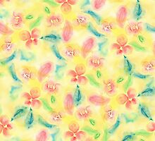 Summer pink yellow romantic floral watercolor by GirlyTrend