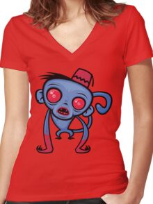 Zombie Monkey Women's Fitted V-Neck T-Shirt