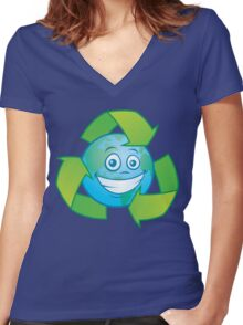 Planet Earth Recycle Cartoon Character Women's Fitted V-Neck T-Shirt