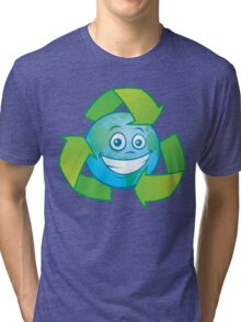 Planet Earth Recycle Cartoon Character Tri-blend T-Shirt