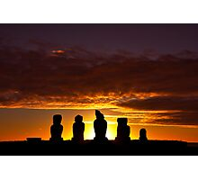 Easter Island Heads at Sunset Photographic Print