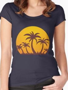 Palm Trees and Sun Women's Fitted Scoop T-Shirt
