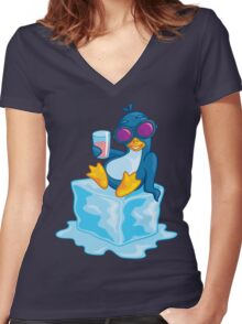 Penguin On Ice Women's Fitted V-Neck T-Shirt