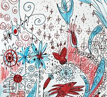 Botanical Doodles in Red and Blue by tanjica