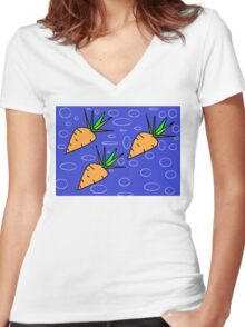 Cute Carrots Women's Fitted V-Neck T-Shirt