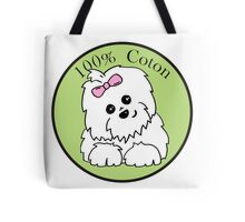 100% Coton de Tulear Green Circle Tote Bag