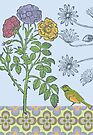 Ornamental Roses & Bird - card by Andi Bird