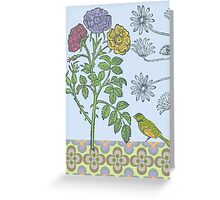 Ornamental Roses & Bird - card Greeting Card