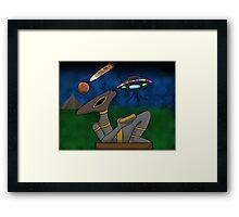 Mayan Alien Golden Bowl Framed Print