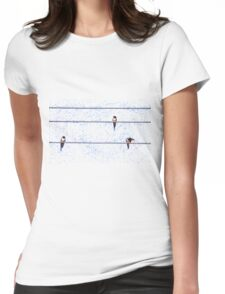 swallows preparing to fly south Womens Fitted T-Shirt