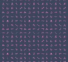 Chevron symbols texture in Pink and dark Blue by Vinchenko